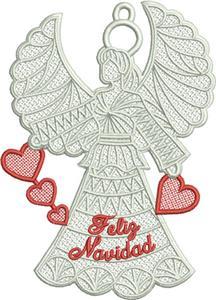 "Free Standing Lace Angel (""Feliz Navidad"")"