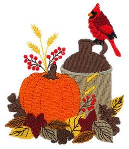 Cardinal with Fall Jug