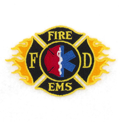 Fire EMS Shield with Flames