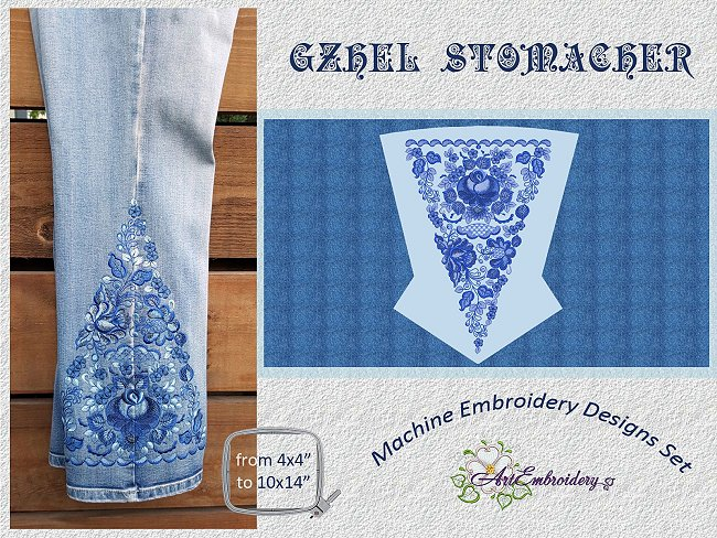 Gzhel Stomacher Motifs Embroidery Design Collection By Artembroidery