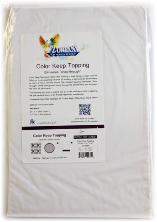 """Floriani Color Keep Topping - 54"""" x 1 yd / White"""