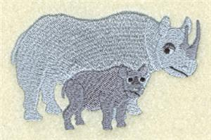Rhinoceros Mom and Baby