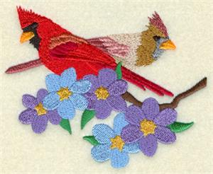 Blooming Cardinal Pair