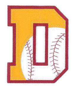 D Baseball-Softball Applique Letter