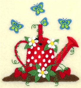 Watering Can with Strawberries